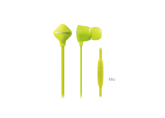 ZUMREED ZHP-120S Lime Yellow Canal Type Earphones